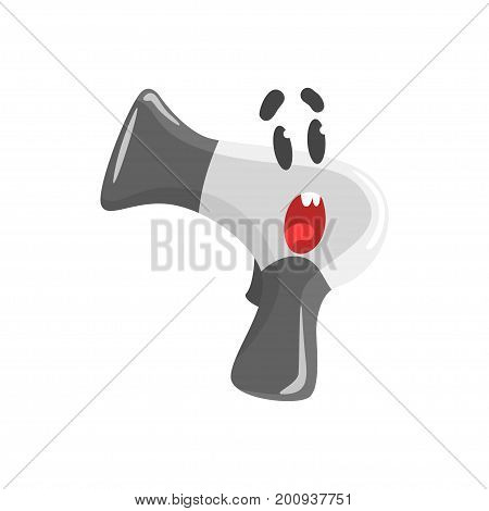Cute surprised cartoon hairdryer character, humanized funny home appliance vector Illustration on a white background