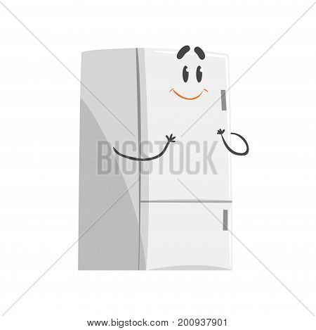 Cute smiling cartoon fridge character, humanized funny home appliance vector Illustration on a white background