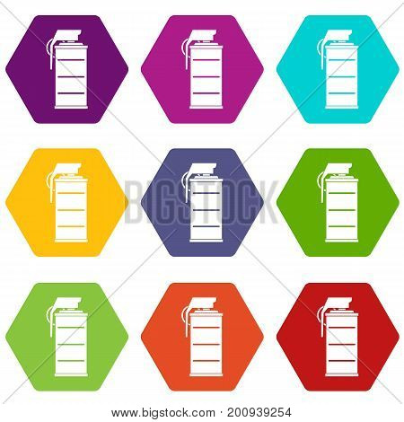 Stun grenade icon set many color hexahedron isolated on white vector illustration