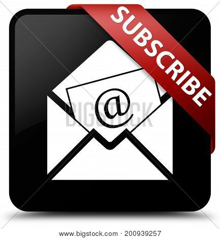 Subscribe (newsletter Email Icon) Black Square Button Red Ribbon In Corner