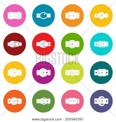 Belt buckles icons many colors set isolated on white for digital marketing