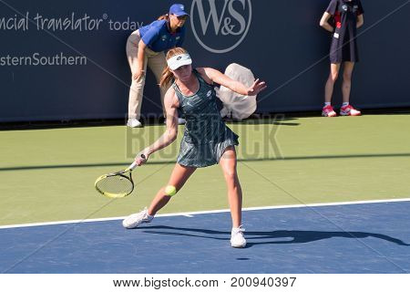 Mason Ohio - August 12 2017: Aliaksandra Sasnovich in a qualifying match at the Western and Southern Open tennis tournament in Mason Ohio on August 12 2017.