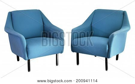 Two Upholstered Blue Fifties Armchairs