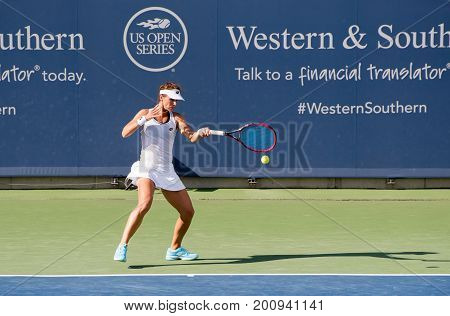 Mason Ohio - August 13 2017: Varvara Lepchenko in a qualifying match at the Western and Southern Open tennis tournament in Mason Ohio on August 13 2017.