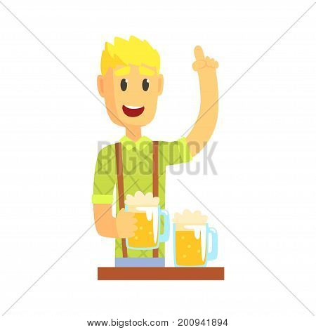 Bartender man character standing at the bar counter with index finger up gesture, barman at work cartoon vector Illustration on a white background