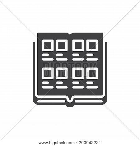Yearbook icon vector, filled flat sign, solid pictogram isolated on white. Symbol, logo illustration. Pixel perfect vector graphics
