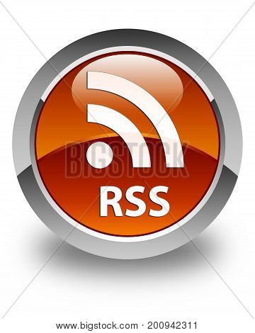 Rss Glossy Brown Round Button