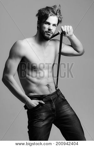 Handsome Bearded Man In Jeans