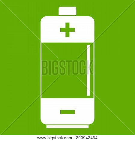 Alkaline battery icon white isolated on green background. Vector illustration