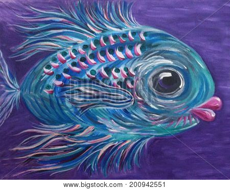 Acrylic Painting on Canvas of Whimsical Colorful Fish on Purple Background