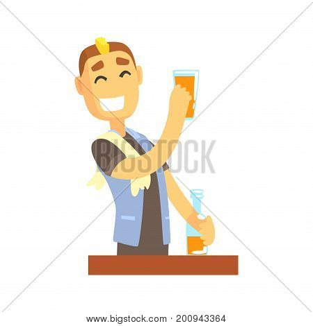 Smiling bartender man character standing at the bar counter, barman at work cartoon vector Illustration on a white background