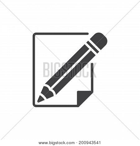 Pencil and paper icon vector, filled flat sign, solid pictogram isolated on white. Write, edit symbol, logo illustration. Pixel perfect vector graphics