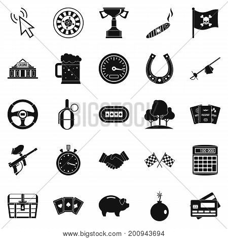 Game of chance icons set. Simple set of 25 game of chance vector icons for web isolated on white background