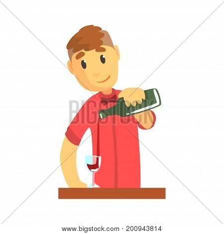 Young bartender man character standing at the bar counter pouring wine, barman at work cartoon vector Illustration on a white background
