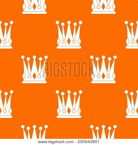 Kingly crown pattern repeat seamless in orange color for any design. Vector geometric illustration
