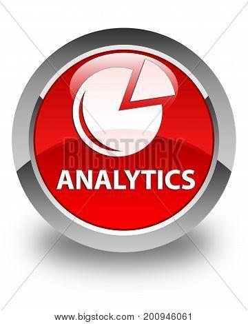 Analytics (graph Icon) Glossy Red Round Button