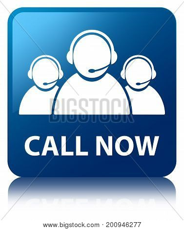 Call Now (customer Care Team Icon) Blue Square Button