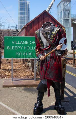 San Diego, CA - July 26, 2014:  The Headless Horseman from of Fox's Sleepy Hollow arrives at Comic Con 2014 in San Diego, CA.