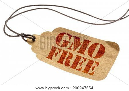 GMO free sign - a paper price tag with a twine isolated on white