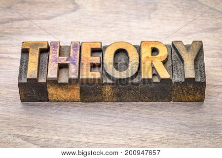 theory word abstract in vintage letterpress woodtype printing blocks