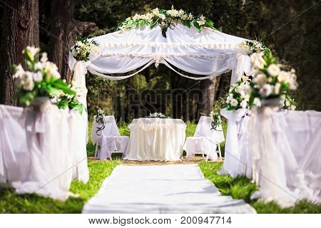 Wedding place in beautiful park, outdoor landscape