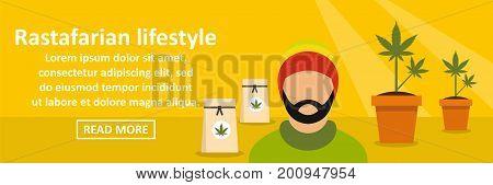 Rastafarian lifestyle banner horizontal concept. Flat illustration of rastafarian lifestyle banner horizontal vector concept for web