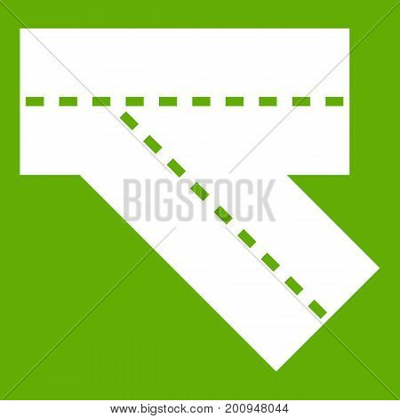 Turn road icon white isolated on green background. Vector illustration