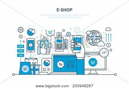 E-shop concept. Online ordering system of products, secure payment, delivery, technical support, promotion in social networks, technology. Illustration thin line design of vector doodles