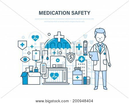 Medication safety. Modern medicine and technology, medical care, healthcare and medical insurance, safety pills, protect and guarantee safety patients, life insurance. Illustration of vector doodles.