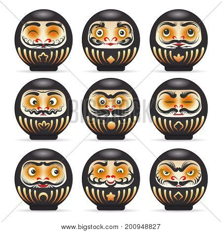 Black emotional daruma dolls set. Vector black secret daruma dolls