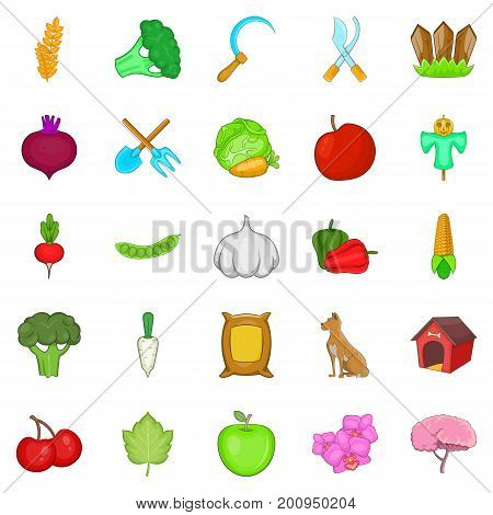 Crop icons set. Cartoon set of 25 crop vector icons for web isolated on white background