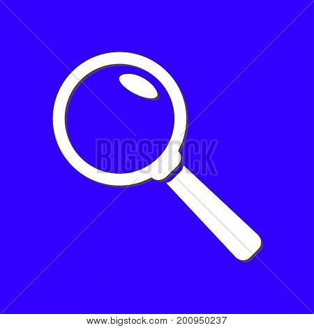 Icon of loupe. Search button. Magnifying glass. Flat design style.