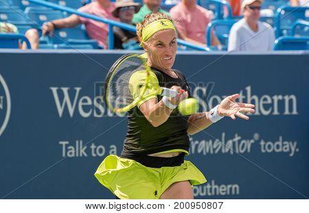Mason Ohio - August 18 2017: Svetlana Kuztensova in a quarterfinal match the Western and Southern Open tennis tournament in Mason Ohio on August 18 2017.