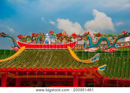 Multi-colored Dragons On The Roof. Chinese Temple Tua Pek Kong. Miri City, Borneo, Sarawak, Malaysia