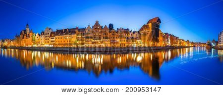 Panorama of Gdansk at Motlawa river, Poland