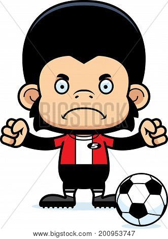 Cartoon Angry Soccer Player Chimpanzee