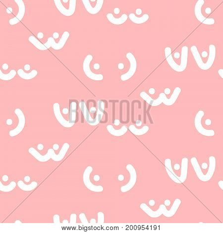 Woman breast vector seamless pattern. Funny boobs background. Soft pink and white pattern.