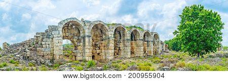 The Ruins Of Aqueduct In Perge