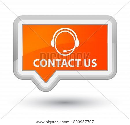 Contact Us (customer Care Icon) Prime Orange Banner Button