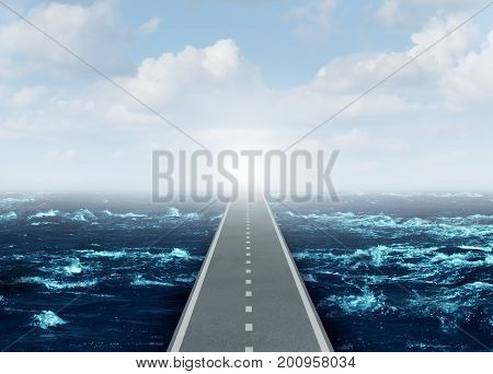 Open strategy business concept as an overseas highway direct bridge path to success and opportunity as a pathway over an ocean and through the sky as a global financial idea with 3D illustration elements.