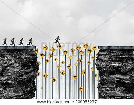 Opportunity bridge and leadership courage as a business person running on traffic signs bridging the gap to success with 3D illustration elements.