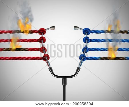 Health politics crisis and medical political legislation failure and medicine insurance reform challenges or universal healthcare system stress concept as a group of ropes on fire pulling on a doctor stethoscope with 3D illustration elements.