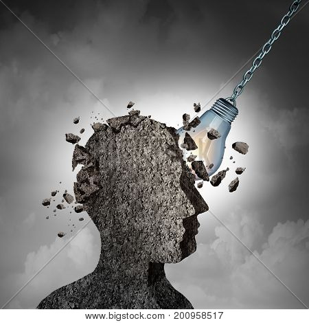 Concept Of Brainstorming and racking your brains idea as a human head made of cement or concrete being demolished by an illuminated lightbulb or light bulb as a thinking and intelligence metaphor with 3D illustration elements.