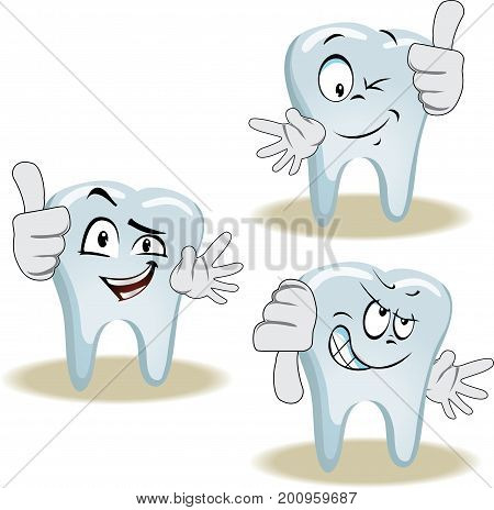 Live tooth with face, arms and eyes for your medical and health design. It shows a thumbs-up and down. Vector illustration