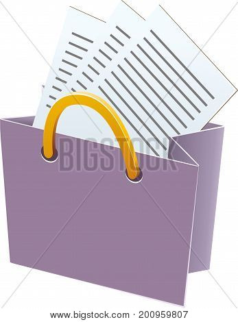 Paper shopping bag with paper handles. Paper sheets inside. Vector illustration for your design