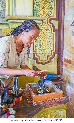 Brewing Coffee In Ethiopian Ceremony