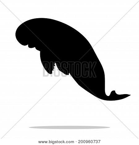 Manatee mammal  sea black silhouette animal. Vector Illustrator