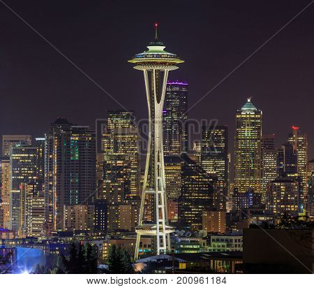 SEATTLE, WASHINGTON, USA - OCTOBER 15, 2015: The Space Needle is an observation tower in Seattle, Washington, a landmark of the Pacific Northwest, and an icon of Seattle.