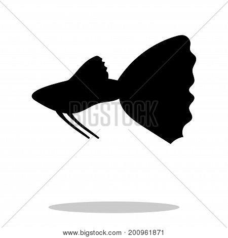 Guppy fish black silhouette aquatic animal. Vector Illustrator.