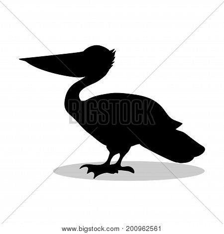 Pelican bird black silhouette animal. Vector Illustrator.